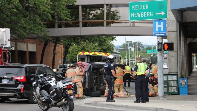 A two-vehicle crash closed lanes on Marion Street Tuesday morning.