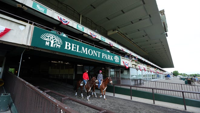 General view of training the day before the 2015 Belmont Stakes.