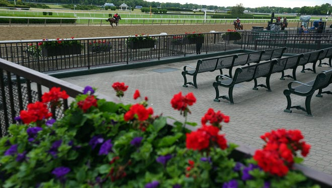 A General view of training the day before the 2015 Belmont Stakes at Belmont Park.