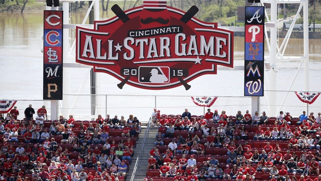 The 2015 All-Star Game sign is displayed in right field at GABP.