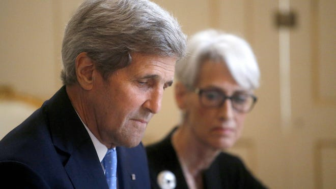 US Secretary of State John Kerry, left, and US Under Secretary for Political Affairs Wendy Sherman prepared to meet with Iran's foreign minister in Vienna, Austria, on June 30, 2015.
