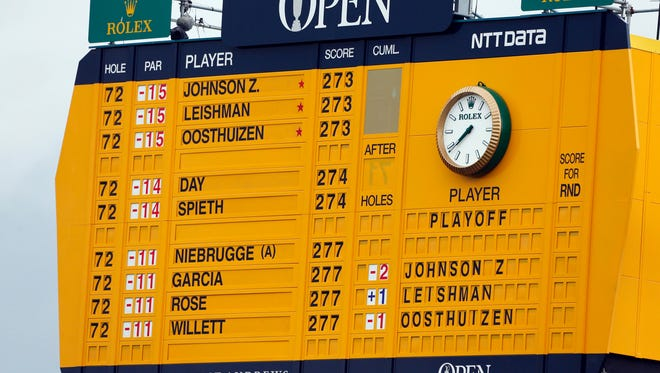 The scoreboard on the 18th hole at the 144th Open Championship at St. Andrews - Old Course.