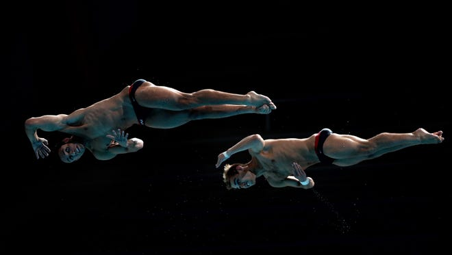 Sam Dorman, left, and Kristian Ipsen were seventh in synchronized 3-meter diving at the World Championships.