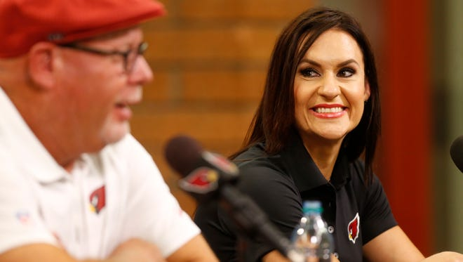 Dr. Jen Welter is introduced during a news conference at the Cardinals' training facility in Tempe on July 28, 2015.