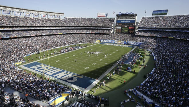 """Qualcomm Stadium in San Diego, California's second most-populous city, which Joe Mathews says is seen by many as preferable to """"biggest California city"""" Los Angeles."""