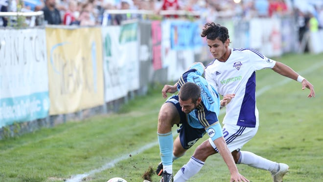 Louisville City FC's Enrique Montano makes a play on the ball Wednesday at Harrisburg City.