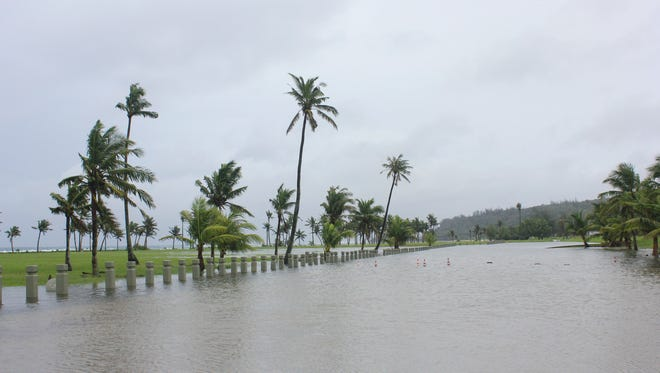 Most of Asan Park was flooded due to the aftermath of Tropical Storms Goni and Atsani on Aug 16.