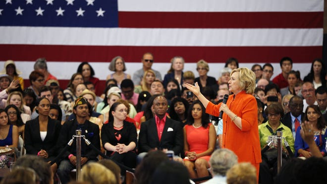Democratic presidential candidate Hillary Rodham Clinton speaks at a recent town hall meeting in North Las Vegas, Nevada.