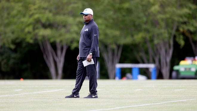 Detroit Lions head coach Jim Caldwell watches practice at the team's football training facility, Monday, Aug. 24, 2015, in Allen Park, Mich.