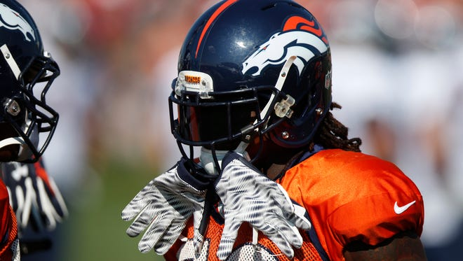 Denver Broncos linebacker Reggie Walker (50) during the morning session at the team's NFL football training camp Tuesday, Aug. 18, 2015, in Englewood, Colo.