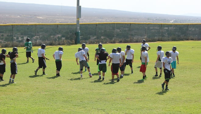VVHS football team practices this week for Friday's game.