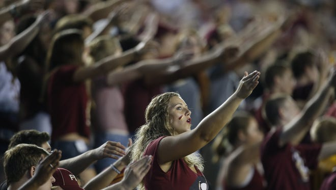 FSU Fans watch the opening game of the season as the Seminoles take on Texas State at Doak Campbell Stadium Saturday.