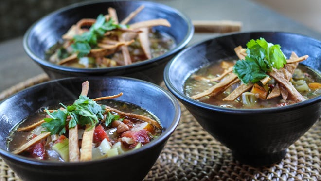 Chicken and Tortilla Soup with Roasted Chiles and Salsa Verde