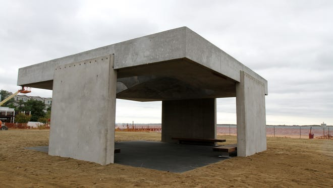 A concrete monument to survivors of superstorm Sandy. The pavilion in Highlands has been controversial for its looks, but new information shows it was built without proper permitting.