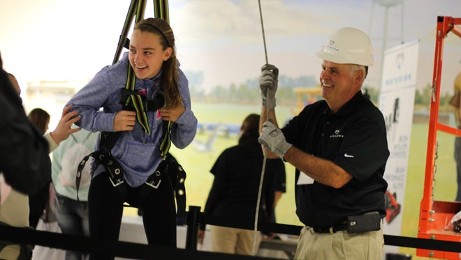 This popular station from Materion at a previous Ottawa County Career Showcase taught students about the safety harnesses some of their employees work with every day.
