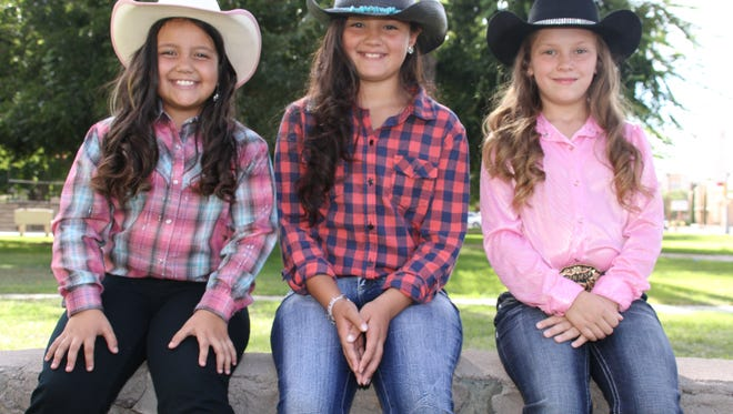 From left are Junior Princess Contestants Aubrey Almanza, Moniqa Enciso and Landin Rae Keeler. The Southwestern New Mexico State fair Queen Contest is at 6 p.m., Thursday in the staged building at the fairgrounds in Deming.