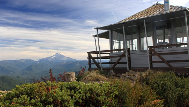 Gold Butte Lookout, which can be rented overnight, looks out on Mount Jefferson.