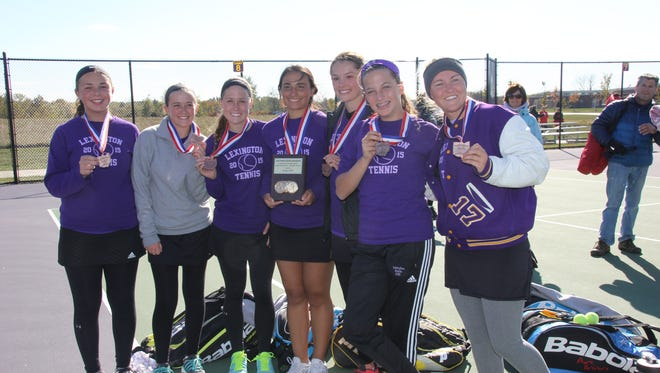 Members of Lexington's girls tennis team, which finished fourth in Sunday's state tournament.