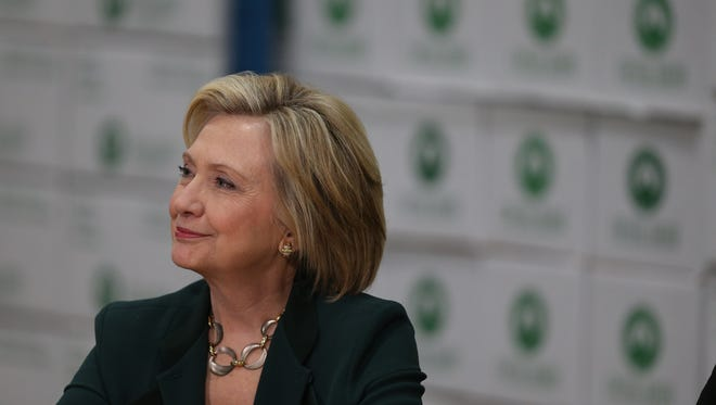 Presidential hopeful Hilary Clinton speaks to a group of central Iowa small business owners on April 15.