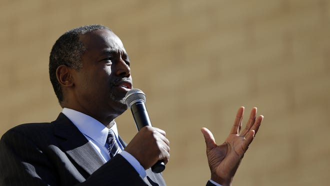 Republican presidential candidate Dr. Ben Carson speaks outside at DMACC on Friday,  Oct. 2, 2015, in Ankeny, Iowa.