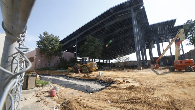 The new amphitheater at the Centre of Tallahassee Mall, seen here under construction on Wednesday July 22, 2015.