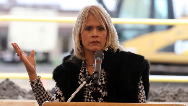 Sandra Doyle Ferullo of Farmingdale, a breast cancer patient, speaks about her experience during the HOPE Tower Groundbreaking Ceremony at Jersey Shore University Medical Center in Neptune, NJ Wednesday November 11, 2015.