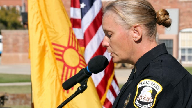Deming Police Lt. Kathleen Schindler spoke eloquently and direct to the audience about the role of women in the military during Wednesday's Veterabns Day ceremony at Veterans Park. Schindler served in the U.S. Marine Corps and paid tribute to all military veterans.