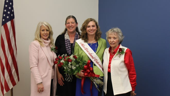 The new Miss Loveland Valentine Alice Mueller, with Loveland Chamber of Commerce President Mindy McCloughan, Mueller's mother and Valentine chaperone Norma Jean Goodheart.