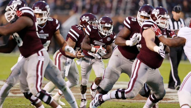 Mississippi State's offensive line gave up nine sacks to Alabama Saturday, and the Bulldogs are 11th in the SEC in rushing during conference games.