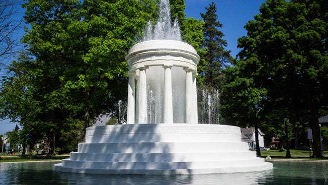 The Brooks Memorial Fountain in Marshall.