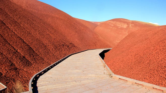 The Painted Cove Trail gives hikers up-close views of the Painted Hills.