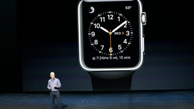 SAN FRANCISCO, CA - SEPTEMBER 9:  Tim Cook speaks about the Apple Watch during an Apple Special Event on at Bill Graham Civic Auditorium September 9, 2015 in San Francisco, California. Apple Inc. unveiled latest iterations of its smart phone, forecasted to be the 6S and 6S Plus and announced an update to its Apple TV set-top box. (Photo by Stephen Lam/ Getty Images) ORG XMIT: 576709901 ORIG FILE ID: 487430222