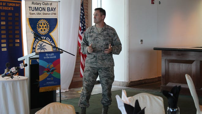 Air Force Brig. Gen. Andrew J. Toth, Commander of the 36th Wing at Andersen Air Force Base, addresses the Rotary Club of Tumon Bay Tuesday at the Pacific Star Resort & Spa.