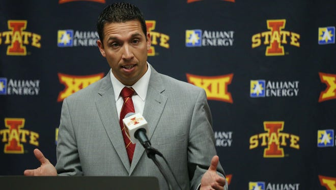 Iowa State University's new head football coach Matt Campbell addresses the media in a news conference on Monday, Nov. 30, 2015, on the Iowa State campus. Campbell comes to Iowa State from University of Toledo.