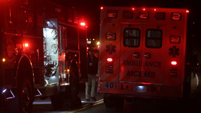 A Montgomery County EMS ambulance leaves the scene of Wednesday's crash site in Montgomery County.