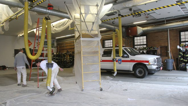 Painting was underway on the apparatus floor of White Plains Fire Headquarters on Mamaroneck Avenue on Nov. 15.