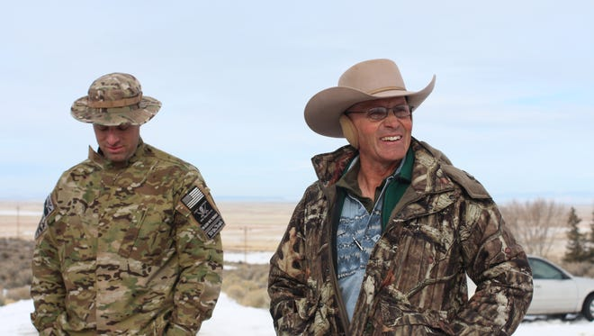 Blaine Cooper, left, and LaVoy Finicum, two of the men occupying the grounds at Malheur Wildlife Refuge in Oregon.