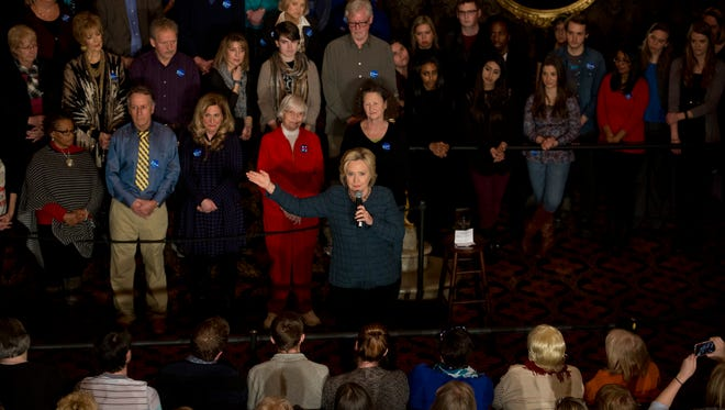 Democratic presidential candidate Hillary Clinton addresses supporters during a rally held at the Orpheum Theatre, Tuesday, Jan. 5, 2016, in Sioux City, Iowa. (AP Photo/Jae C. Hong)
