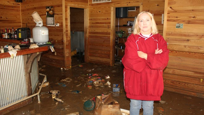 Kim Morris, manager of The Sand Bar Restaurant in Selma, has been working hard to clean up the mess left by flood waters that virtually destroyed the business during the Christmas holiday period.
