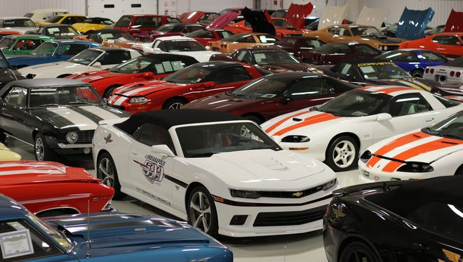 Pictured are some of the vehicles in Mark Pieloch's $28 million car collection.