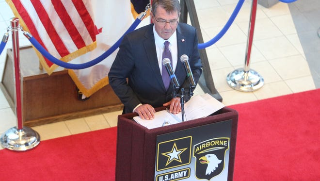 Secretary of Defense Ash Carter addressed the 101st Airborne Division on Wednesday at Fort Campbell.
