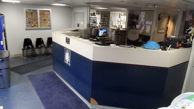 The lobby and police front desk at the Town of Mamaroneck police station. Renovations are scheduled to begin in this area.