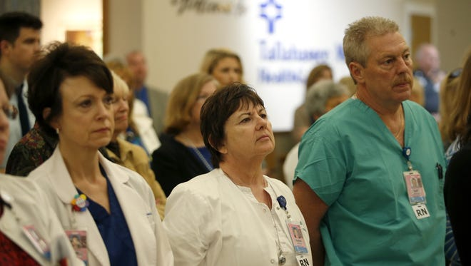 Tallahassee Memorial Hospital employees and community members gather in the atrium of the hospital Tuesday for an announcement of the new partnership with Wolfson Children's Hospital, based in Jacksonville.
