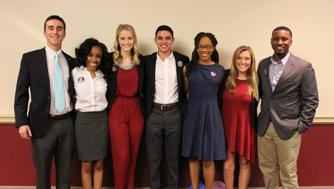 The Advance party slate pictured from left to right: Chase Bowman, Ariel Smith, Valerie Shallow, Nathan Molina, Christina Lavender, Ashley Wolf, and Lee Gibson.