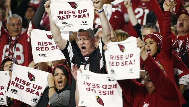 Arizona Cardinals fans make noise against the Green Bay Packers during the NFC Divisional Playoffs on Jan. 16, 2016 in Glendale.