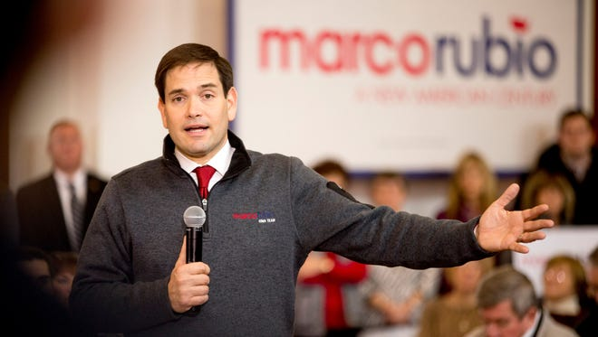 Republican presidential candidate Sen. Marco Rubio, R-Fla., speaks at a town hall at the Iowa State University Alumni Center in Ames, Iowa, Saturday, Jan. 23, 2016.