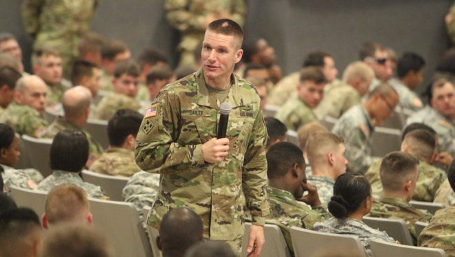 Sgt. Maj. of the Army Daniel A. Dailey talks to soldiers about upcoming changes Wednesday at Fort Campbell's Wilson Theater.