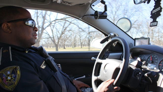 Cpl. Jeremy Edward cruises along highway 71 in north Caddo Parish.