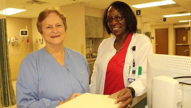 Nurses Mary Ann Norris, left, with supervisor Earlene Sullivan at the Vaughan Regional Medical Center's surgical facility in Selma.