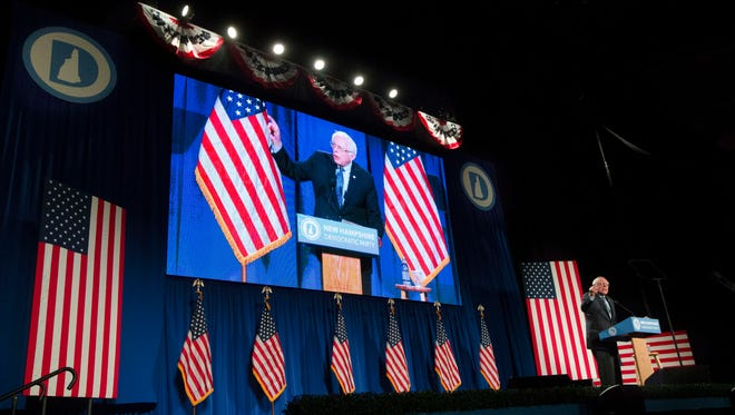 Democratic presidential candidate Sen. Bernie Sanders, I-Vt., speaks at the Verizon Wireless Center at the 2016 McIntyre Shaheen 100 Club Celebration, Friday, Feb. 5, 2016, in Manchester, N.H.
